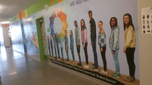 Murals by Mural Art Designs seen at Discovery Canyon Campus, Colorado Springs - We Are ALL Thunder!