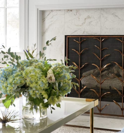 Fireplaces by Claire Crowe Collection seen at Private Residence, Dallas - Lily Stems Fire Screen