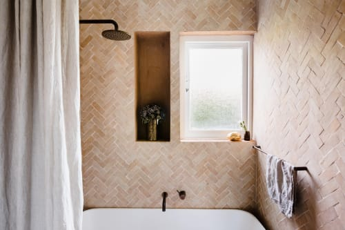 Tiles by Zia Tile seen at Private Residence, Los Angeles - Unglazed Natural 2x6 Zellige