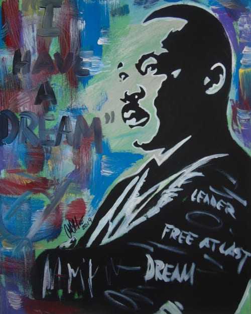 Paintings by Antonio Moore Art seen at Private Residence, Aberdeen - MLK Jr. Canvas Painting