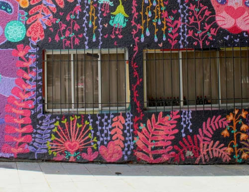 Murals by Planta Muisca seen at Zamora 197, Ciudad de México - Plant Mural