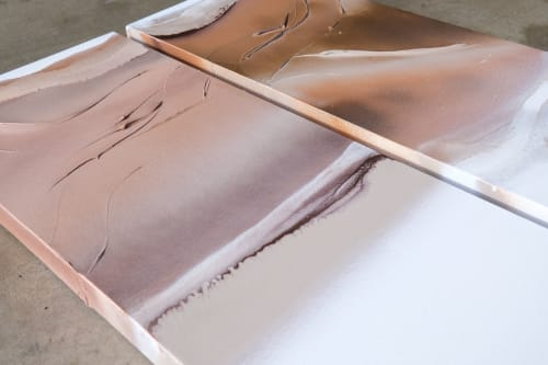 Paintings by Nichole McDaniel at The La Jolla Gallery, San Diego - Wind Swept 1 - Tan, Brown, White, Rose Gold Abstract