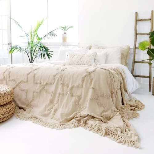 Linens & Bedding by Coastal Boho Studio at Destin, Destin - Sandy Handwoven Bedspread Set - Natural