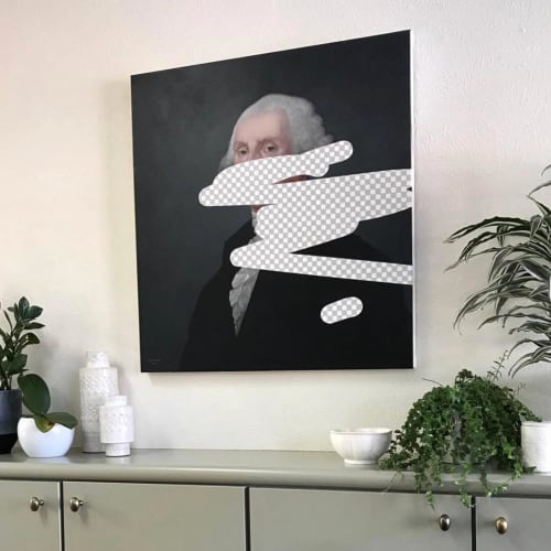 Paintings by Shawn Huckins seen at Private Residence, Boulder - George Washington (Erasure No. 1)