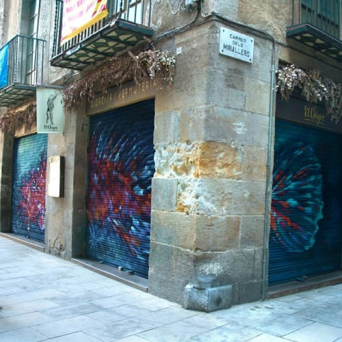"Street Murals by Reb seen at El Born, Barcelona - ""Cabracho"""