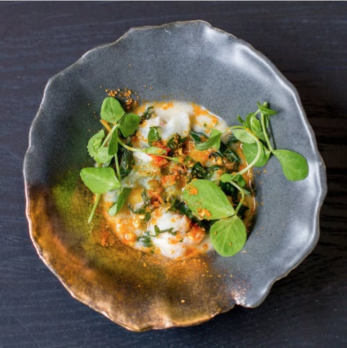 Tableware by FisheyeCeramics seen at Avery Restaurant, San Francisco - Gold Accented Pinch Bowls