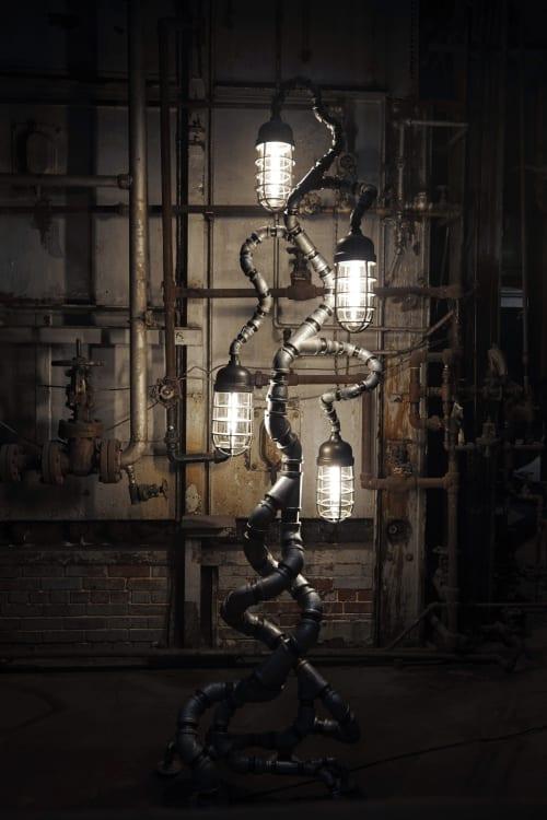 Modern Industrial Floor Lamp - Antique Crouse Hinds Lights | Lamps by Pandemic Design Studio | Philadelphia in Philadelphia