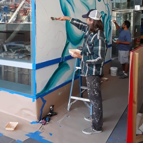 Murals by Daryll Peirce seen at Salesforce Transit Center, San Francisco - Transbay Transit Center mural