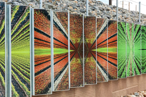 Public Sculptures by RE:site seen at Arvada Ridge Station, Wheat Ridge - Chromatic Harvest