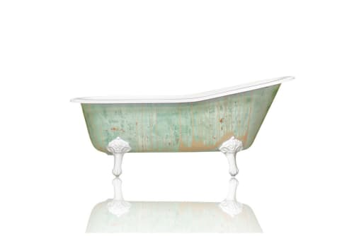"Water Fixtures by WatermarkFixtures seen at Private Residence, Crowley - Single Slipper 67"" Cast Iron Clawfoot Bathtub Monet Green Trompe L'Oeil Antiqued Finish"