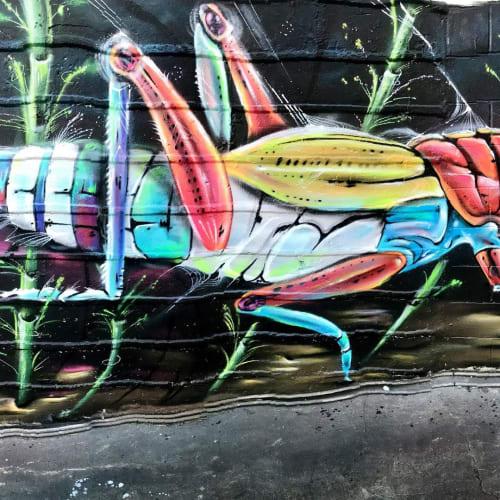 Murals by Max Ehrman (Eon75) seen at Oakland, Oakland - Rainbow Grasshopper Mural
