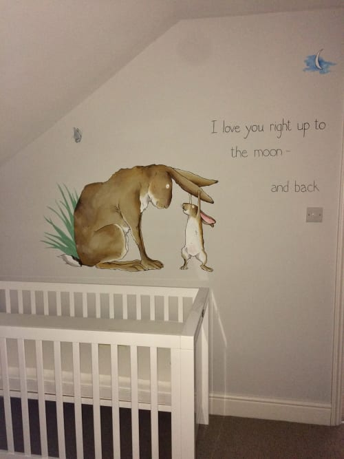 """Murals by Louise Dean - Artist seen at Private Residence, Langton Green - Baby Nursery - """"Guess how much I love you"""""""