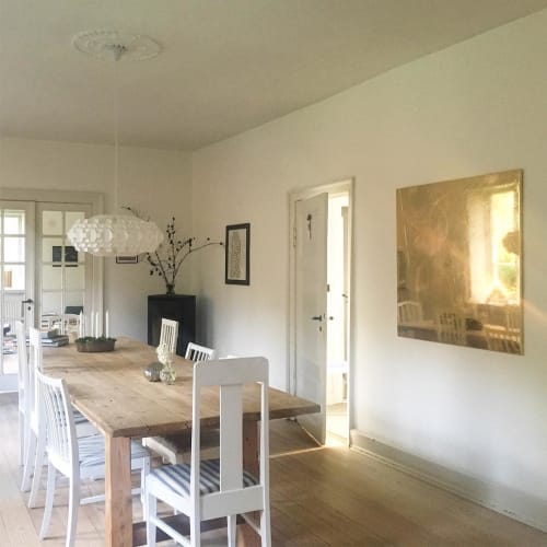 Paintings by Mikkel Carl seen at Private Residence, Sorø - Gold mirror foil painting