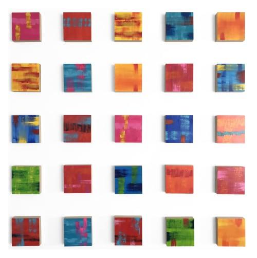 "Paintings by Paula Gibbs seen at Creator's Studio, Oro Valley - ""Festival 25"" Wood Panel Wall Sculpture by Paula Gibbs"