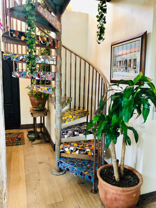 Interior Design by Rochelle Rose Schueler - Wild Rose Artworks LLC seen at Private Residence, Bend - Mexican Spiral - tile mosaic covered metal staircase