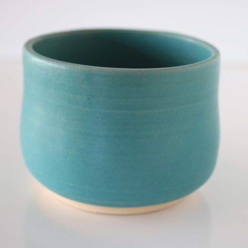 Ceramic Plates by Lulu Studio Art seen at Private Residence - Aqua pottery bowl