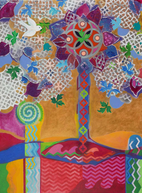 Paintings by Christina Saj Fine Art and Design seen at Private Residence, Montclair - Tree of Life: Eden
