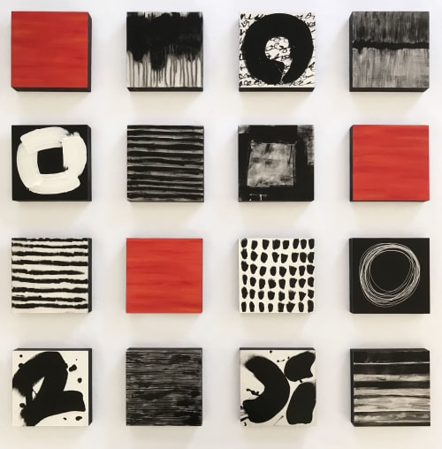 Sculptures by Paula Gibbs seen at Creator's Studio, Oro Valley - Black and White with Pop of Color Wall Sculpture