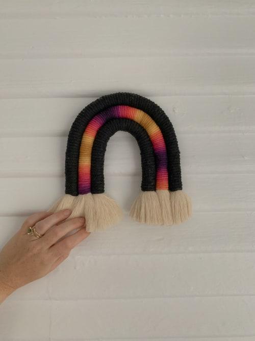 Black and Pink Macrame Rainbow | Macrame Wall Hanging by Demi Macrame & Designs