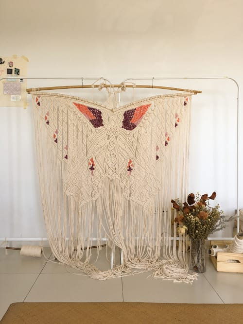 Macrame Wall Hanging by Condimentstrings seen at Private Residence, Kuala Lumpur - Greta. A Macrame Butterfly