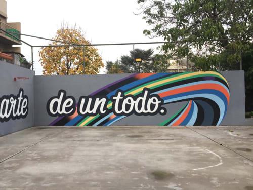 Murals by HARYMBAT seen at Puerta abierta primaria, Villa Martelli - Puerta Abierta Mural