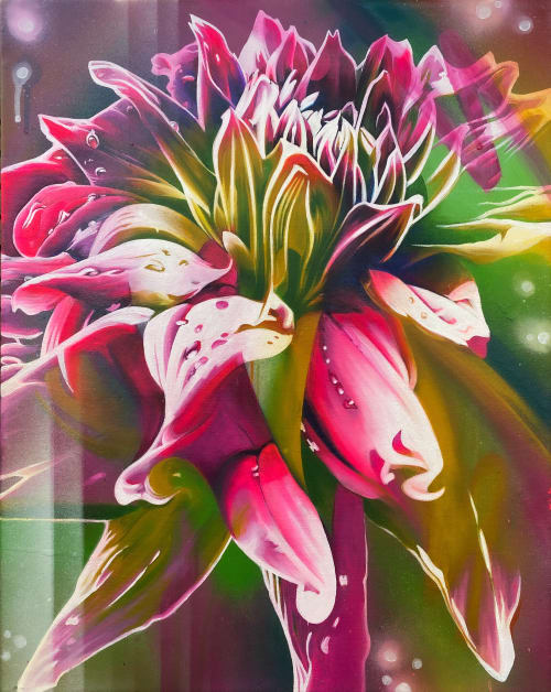 Paintings by Kathryn Crawford Art seen at Private Residence - Abstract Dahlia Painting