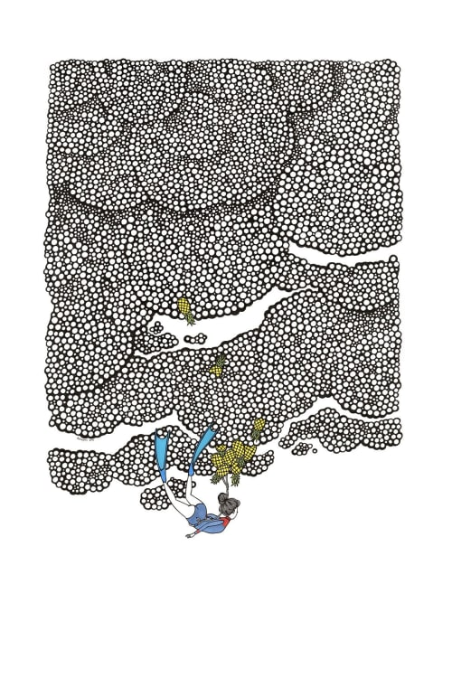 "Art & Wall Decor by Kris Goto seen at Kris Goto Studio, Honolulu - ARTWORK - PINE DIVE 24"" by 36"" Pen on Bristol Paper"