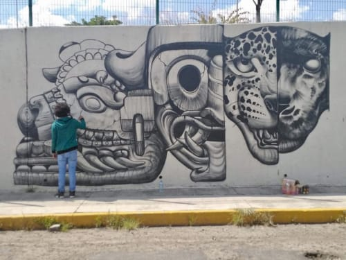 Murals by Nacho Bernal seen at poliforum morelia, Morelia - Furia