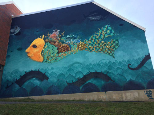 Street Murals by Lucas Aoki seen at Elm Park Elementary School, Worcester - Pow!Wow! Worcester 2017