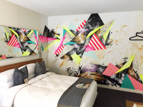 Murals by Taka Sudo seen at Jupiter Hotel, Portland - Jupiter Hotel room mural
