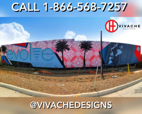 Murals by VIVACHE DESIGNS seen at RPWH+Q6, Carson - The Highway Gallery Mural #1 130'x25' CMU Wall