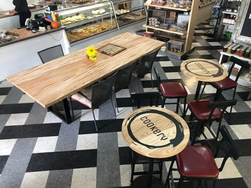Tables by Stone City Woodworks seen at Inverary, Inverary - Custom Branded Solid wood table tops