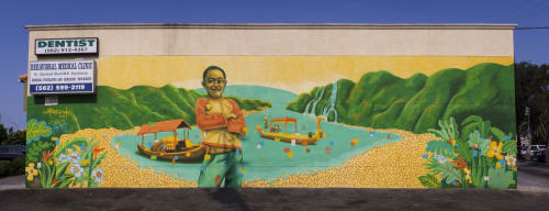 "Murals by Bodeck Luna Hernandez seen at 1187 E Anaheim St, Long Beach - ""Golden Boy"" Cambodia Town Mural Project 2017"