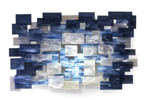 """Sculptures by Karo Studios seen at Private Residence, Los Angeles - """"Arctic"""" Glass and Metal Wall Art Sculpture"""