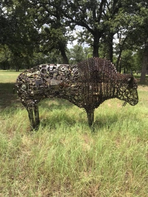 Art Curation by TMJ CREATIVE SCULPTURES seen at Goodnight, Goodnight - Life Sized Buffalo made from found objects