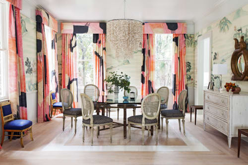 Curtains & Drapes by Porter Teleo seen at Flyway Drive, Kiawah Island - Silk Scarf Fabric in Cadmium