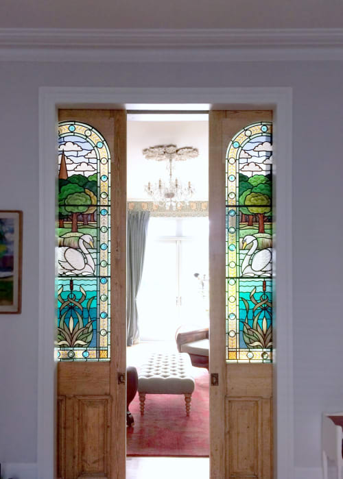 Interior Design by Flora Jamieson Stained Glass seen at Private Residence, London - Swan and Pond stained glass door panels, private home, Hampstead, London.  Interior design by Berdoulat Interiors.