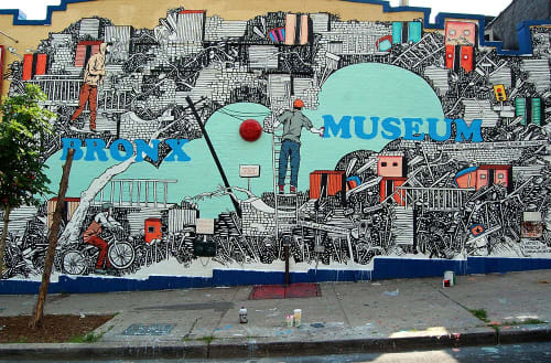 Street Murals by Priscila De Carvalho seen at The Bronx Museum of the Arts, Grand Concourse, Bronx, NY, Bronx - Bronx Museum Mural