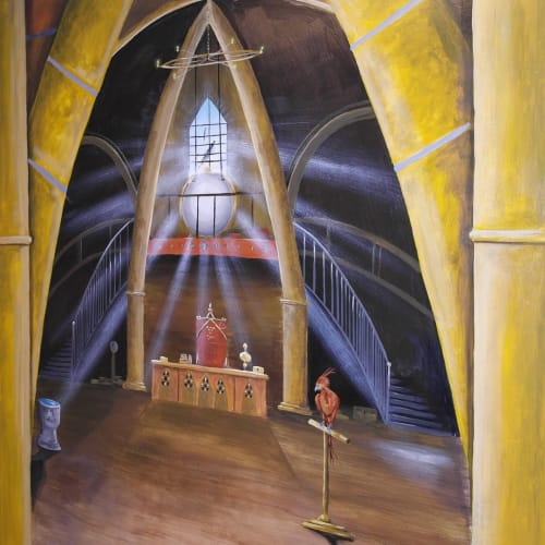 Murals by Brandon Higgins seen at Perrywood Primary & Nursery School, Worcester - Hogwarts Library