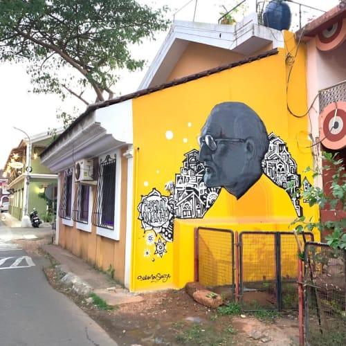 Street Murals by Solomon Souza seen at Fontainhas (quarter), Panaji - Percival Noronha Mural