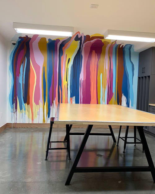 Murals by Lacey Longino seen at AMLI Lenox, Atlanta - Splat, Drip, POP!