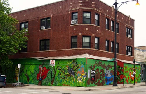 "Murals by Cheri Lee Charlton seen at Colectivo Andersonville, Chicago - ""Animals of Sumatra"""