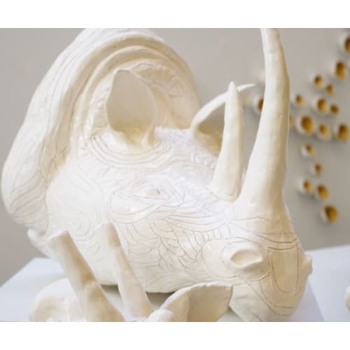 """Sculptures by The Wavering Line - Artist: Ky Novak seen at Private Residence, Colorado Springs - Ceramic Animal Sculptures + Wall Decor - """"Safari"""""""