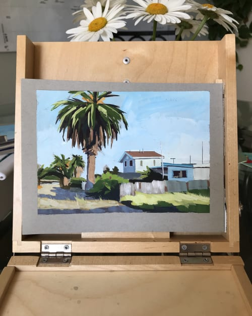 Paintings by Sharon Schock Art seen at Private Residence, Laguna Beach - Carpinteria in Gouache