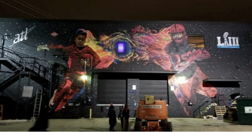 "Murals by Occasional Superstar seen at Westside Cultural Arts Center, Atlanta - Nike ""Dreams"" Commission for for Superbowl 53 (Westside Cultural Arts Center)"