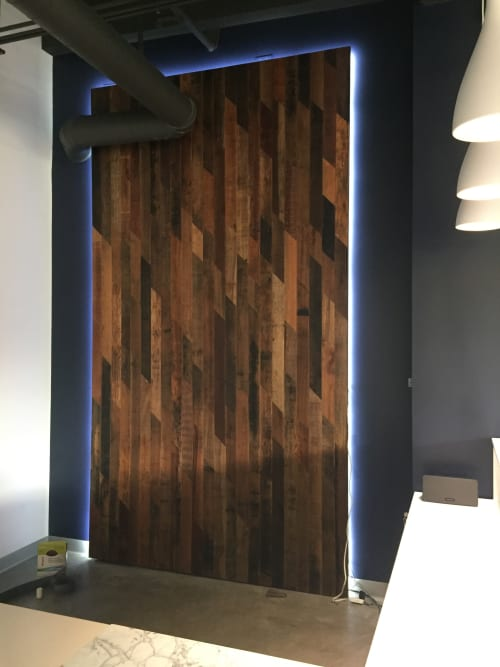 Art & Wall Decor by Coyote Custom Woodwork seen at Centercode, Laguna Hills - Reclaimed Hardwood Custom Wall Panel