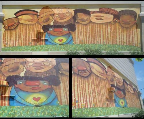 Murals by Danamarie Hosler seen at Wyman Park, Baltimore - Flower heart
