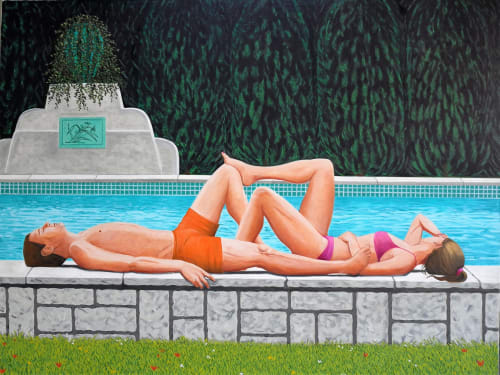 Paintings by Karen Lynn seen at Private Residence - Vence Pool 2