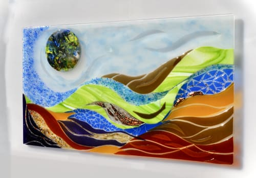 Murals by Bonnie Rubinstein Glass Studio seen at Private Residence, Long Island, NY - Layered Life- Large Glass Mural