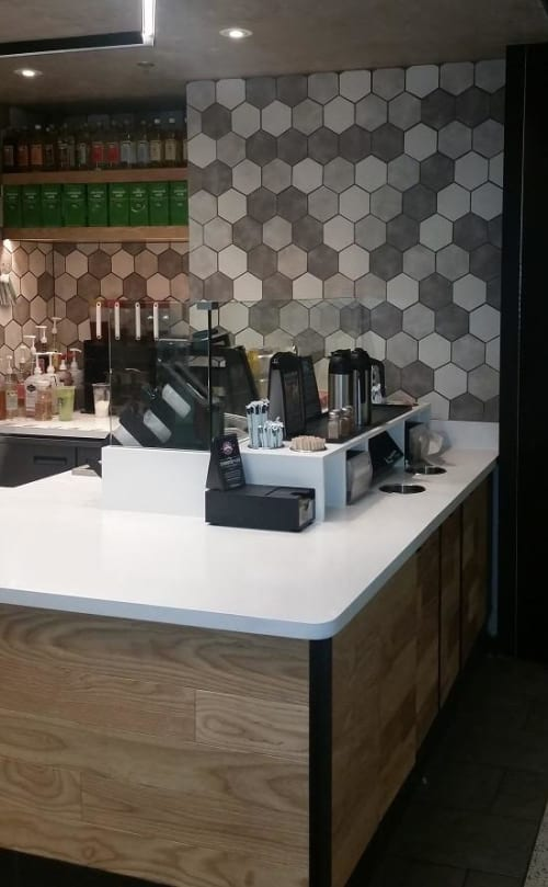 Tiles by Avente Tile seen at Starbucks, Los Angeles - Hexagon Ceramic Tiles
